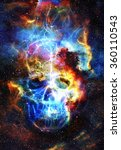 Skull And Fractal Effect. Colo...