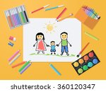 happy family. child drawing...   Shutterstock .eps vector #360120347