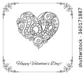 Set of elements for Happy Valentine's day card. Love Heart, frame. Vector illustration. Coloring book for adult and older children. Coloring page. Outline drawing.
