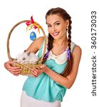 Woman In Easter Style Holding...