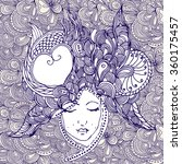 vector girl in doodle style... | Shutterstock .eps vector #360175457