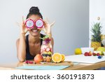 woman smiling with a tropical... | Shutterstock . vector #360191873