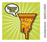 pizza icon on green background | Shutterstock .eps vector #360211403