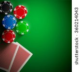 poker table cards and chips... | Shutterstock .eps vector #360214043