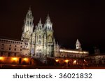 cathedral of Santiago de Compostela, 28 Agosto 2009, the photo shows the beauty of the cathedral at night - stock photo