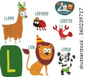 cute zoo alphabet in vector. l... | Shutterstock .eps vector #360239717