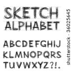 Vector Sketch Alphabet - stock vector