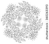 vector monochrome floral... | Shutterstock .eps vector #360263393