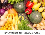 colorful fruits and vegetables... | Shutterstock . vector #360267263