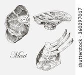 vector meat hand drawn... | Shutterstock .eps vector #360297017