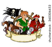 peter pan and the pirates emblem | Shutterstock .eps vector #360306653
