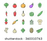 fresh vegetables icon color set.... | Shutterstock .eps vector #360310763