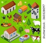 farm isometric set. isolated....   Shutterstock .eps vector #360328097