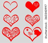 valentine day doodle hearts.... | Shutterstock .eps vector #360340997
