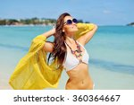 beautiful happy woman enjoying... | Shutterstock . vector #360364667