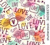 seamless pattern of words. love.... | Shutterstock .eps vector #360383723