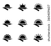Vector Black Sunrise Icon Set....