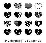 vector black hearts icons set    Shutterstock .eps vector #360425423
