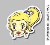 sticker with hand drawn smiling ... | Shutterstock .eps vector #360427973