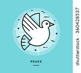 Peace  Flat Design Thin Line...