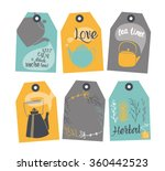 set of labels with a tea design.... | Shutterstock .eps vector #360442523