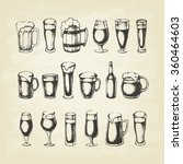 set of beer mugs. hand drawn... | Shutterstock .eps vector #360464603