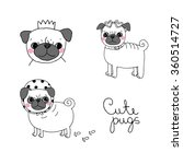 Cute Pugs. Dogs. Hand Drawing...