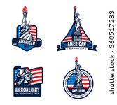 usa liberty statue logo badge... | Shutterstock .eps vector #360517283