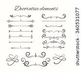 Hand drawn dividers set. Ornamental decorative elements. Vector ornate elements design. | Shutterstock vector #360531077