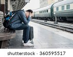 asian depressed traveler... | Shutterstock . vector #360595517