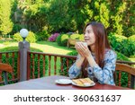 asia girl teenage and breakfast ... | Shutterstock . vector #360631637