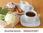 Coffee  White Rose And Gift