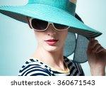 High Fashion Model Wearing Blu...