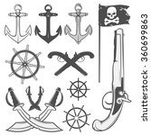 set of vintage pirate design... | Shutterstock .eps vector #360699863