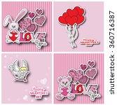valentine cards. hand drawn... | Shutterstock .eps vector #360716387