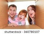 family in a cardboard box ready ... | Shutterstock . vector #360780107