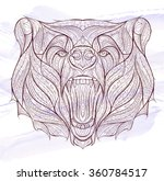 patterned head of the growling... | Shutterstock .eps vector #360784517