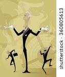 old man manipulates by two... | Shutterstock .eps vector #360805613