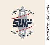 vintage surfing emblem with... | Shutterstock .eps vector #360808967