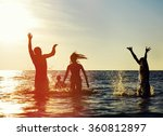 silhouettes of young group of... | Shutterstock . vector #360812897