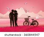 couple silhouette standing on... | Shutterstock .eps vector #360844547