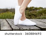 close up of model in white... | Shutterstock . vector #360884693