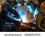 worker with protective mask... | Shutterstock . vector #360892553