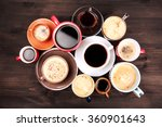 many cups of coffee on wooden... | Shutterstock . vector #360901643