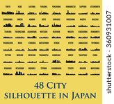 set of 48 city silhouette in...