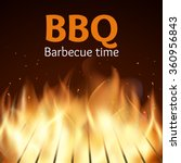 grille with fire. bbq poster.... | Shutterstock .eps vector #360956843