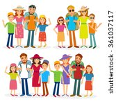 traveling family vector people | Shutterstock .eps vector #361037117