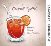 glass of spritz aperitif aperol ... | Shutterstock .eps vector #361069997