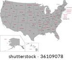gray usa map with states and... | Shutterstock . vector #36109078