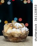 """Small photo of Purim holiday cookies, chocolate-filled cookies """"Ozne Haman"""" in Hebrew. Haman's ears"""